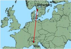 Map of route from Milan(OrioalSerio) to Gothenburg(Saeve)