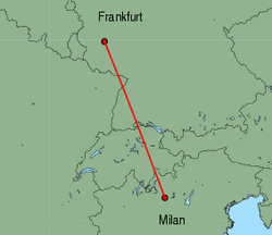 Map of route from Milan (Orio al Serio) to Frankfurt (Hahn)