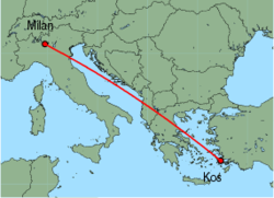 Map of route from Milan(OrioalSerio) to Kos