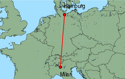 Map of route from Milan (Orio al Serio) to Hamburg (Luebeck)