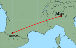 Map of route from Milan(OrioalSerio) to Lourdes