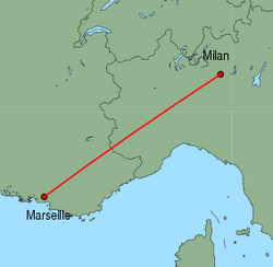 Map of route from Milan(OrioalSerio) to Marseille