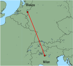 Map of route from Milan(OrioalSerio) to Weeze