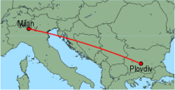 Map of route from Milan (Orio al Serio) to Plovdiv