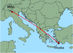 Map of route from Milan (Orio al Serio) to Rhodos