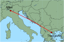 Map of route from Milan (Orio al Serio) to Thessaloniki