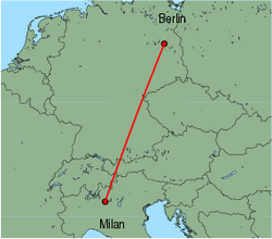 Map of route from Milan(OrioalSerio) to Berlin(Schoenefeld)