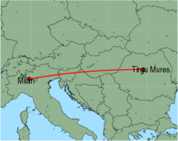 Map of route from Milan (Orio al Serio) to Tirgu Mures