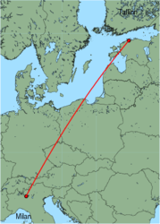 Map of route from Milan (Orio al Serio) to Tallinn