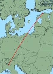 Map of route from Milan(OrioalSerio) to Tallinn