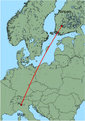Map of route from Milan(OrioalSerio) to Tampere