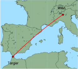 Map of route from Milan(OrioalSerio) to Tangier