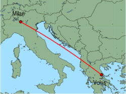 Map of route from Milan (Orio al Serio) to Volos