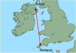 Map of route from Belfast (City) to Newquay