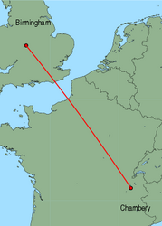 Map of route from Chambery to Birmingham