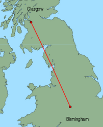 Map of route from Birmingham to Glasgow (International)