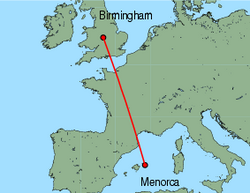 Map of route from Birmingham to Mahon