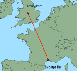 Map of route from Birmingham to Montpellier