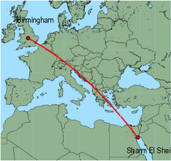 Map of route from Birmingham to Sharm El Sheikh