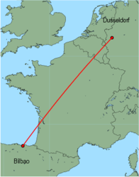 Map of route from Bilbao to Dusseldorf