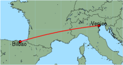 Map of route from Bilbao to Venice (Marco Polo)