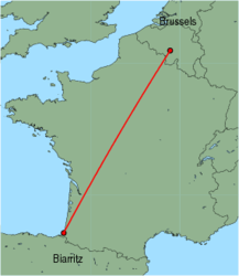 Map of route from Brussels (Charleroi) to Biarritz