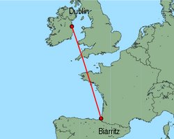 Map of route from Dublin to Biarritz
