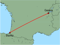 Map of route from Geneva to Biarritz