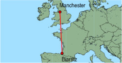 Map of route from Manchester to Biarritz