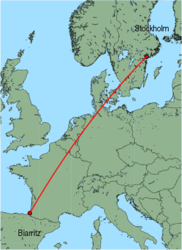 Map of route from Stockholm(Skavsta) to Biarritz