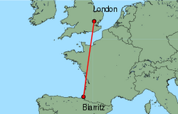 Map of route from London(Stansted) to Biarritz