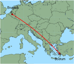 Map of route from Brussels (International) to Bodrum