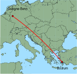 Map of route from Cologne-Bonn to Bodrum