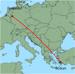 Map of route from Bodrum to Dusseldorf