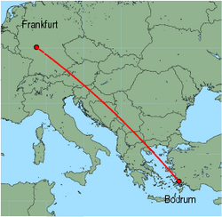Map of route from Bodrum to Frankfurt (International)