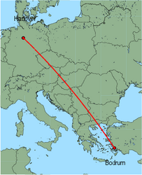 Map of route from Bodrum to Hanover