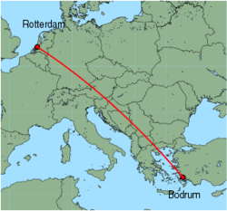 Map of route from Bodrum to Rotterdam