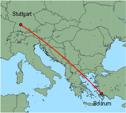 Map of route from Bodrum to Stuttgart