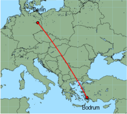 Map of route from Bodrum to Berlin(Schoenefeld)