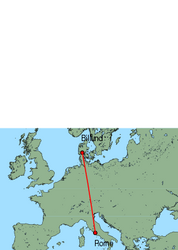 Map of route from Billund to Rome (Ciampino)