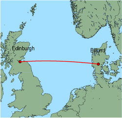 Map of route from Edinburgh to Billund