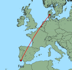 Map of route from Faro to Billund