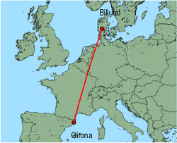 Map of route from Girona to Billund