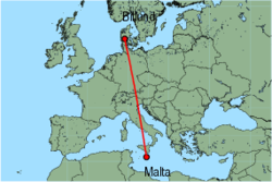Map of route from Malta to Billund