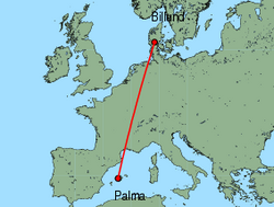 Map of route from Palma to Billund