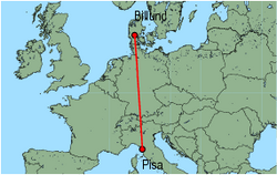 Map of route from Pisa to Billund