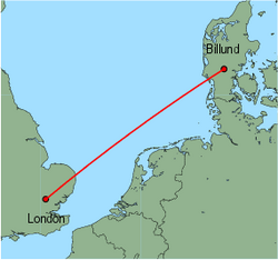 Map of route from London (Stansted) to Billund