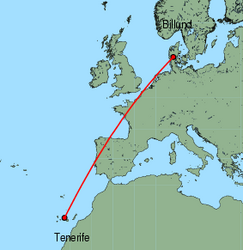 Map of route from Tenerife(Sur) to Billund