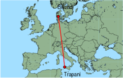 Map of route from Trapani to Billund