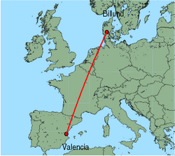 Map of route from Valencia to Billund